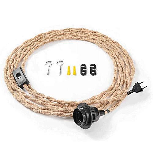 Kit de lámpara colgante con interruptor, cable de cáñamo trenzado con cuerda de cáñamo trenzada, juego de lámparas E26 E27, enchufe enchufe, juego de lámparas de techo DIY para el hogar
