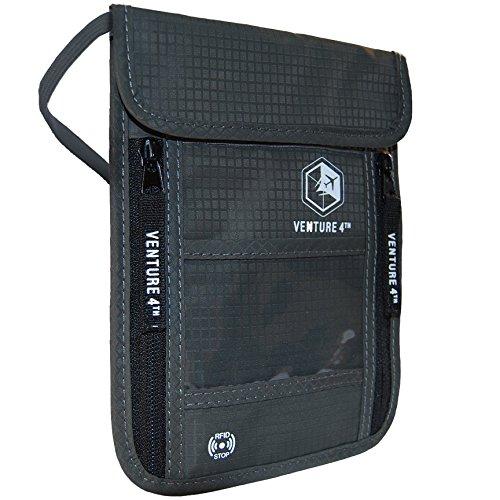 Reise Brustbeutel Brusttasche Reisegeldbeutel mit RFID-Blockierung - Ideal zum Verstauen von Reisepass und Wertsachen (Grey)