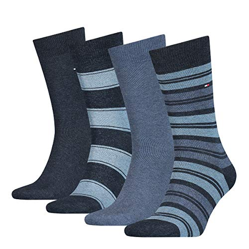 Tommy Hilfiger Mens TH 4P Stripe TIN GIFTBOX Socks, Jeans, 43/46 (4er Pack)