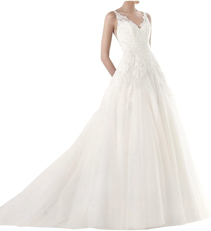 MILANO BRIDE Gorgeous Bridal Wedding Dress Vneck Spaghetti Straps Floral Lace