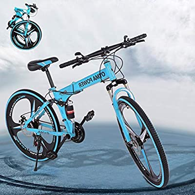 ZCCSHOWN 26in Mountain Bike,21-Speed Folding Bicycles with Disc Brakes/Full Suspension for Adults,Exercise Fitness Mens Womens Outdoor Bicycle,Essential for Healthy Life (Blue)