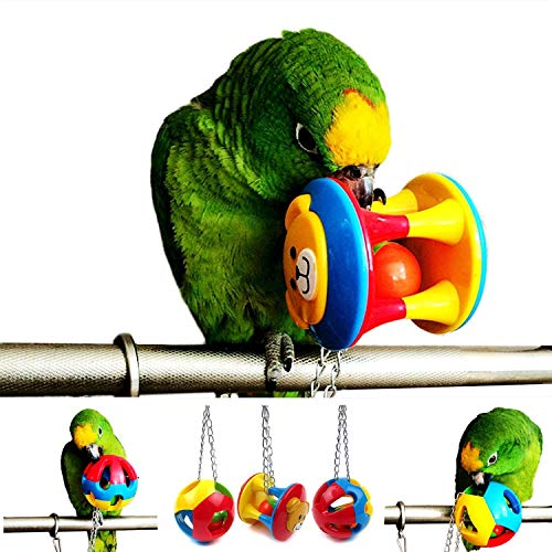 ECOOLBUY 3 uds., Lindo pájaro para mascotas, juguete para morder, loro, pelota para masticar, juguetes, jaula para columpio, periquito cacatúa Perrito gato Jugando pelota