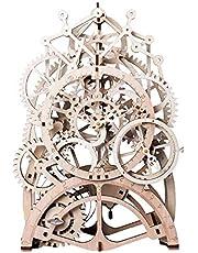 Robotime 3D Holzpuzzle Uhr - Modellbau Bastelset Technik bausatz Fuer Erwachsene- Mechanische Holzmodell Spielzeug Vatertag Weihnachtsgeburtstagsgeschenk für Kinder Alter 14
