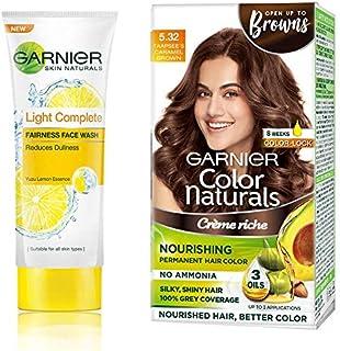 Garnier Skin Naturals Light Complete Facewash, 100G And Garnier Color Naturals Crème Hair Color, Shade 5.32 Caramel Brown,...