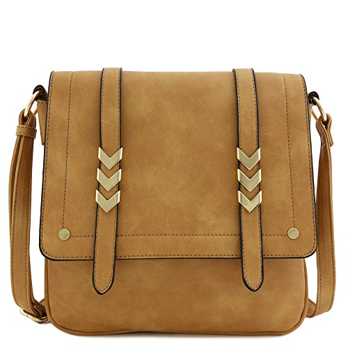 Double Compartment Large Flapover Crossbody Bag (Light Tan)