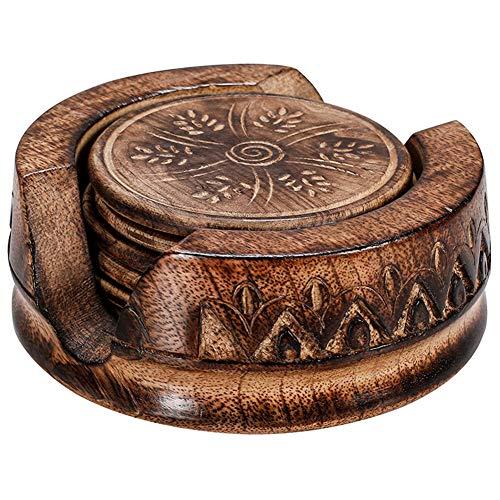 Cakunmik El diseño Creativo Anti-Wood House Silla de Madera de 6 Piezas Conjunto Hecho a Mano con Vino Titular de montañas Rusas de Resina de Vidrio de 10 * 10 cm,B
