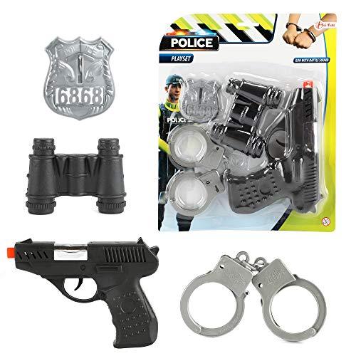 Toi-Toys 14150A Rollenspiel-Set Polizei mit Polizeipistole, Handschellen, Fernglas und Polizeimarke für Kinder