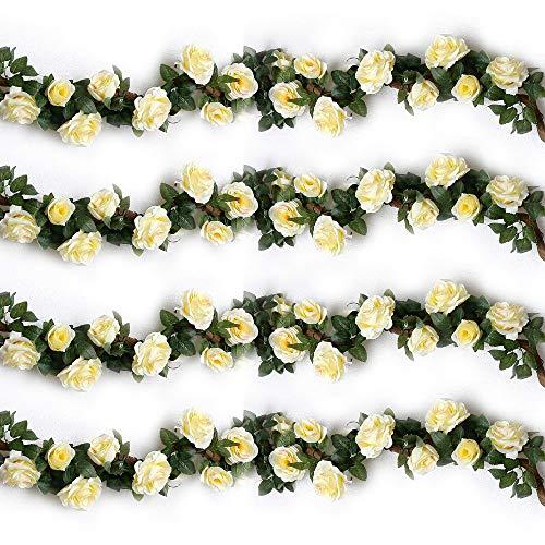 Künstlich Rosen Blumengirlande Kunstblumen Seidenblumen Blumen Rose Girlande Hängend Rebe für Zuhause Wand Hochzeit Bogen Anordnung Dekoration (2 Stücke, Beige)