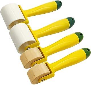 4 Stück Tapeten Nahtroller mit Holzrollen, Kunststoffrolle