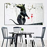 YWOHP Street Art Nordic Abstract Picture Wounded Mouse Wall Art Pittura su Tela per la Decorazione Domestica Pittura Tela Pittura su Tela Senza Cornice