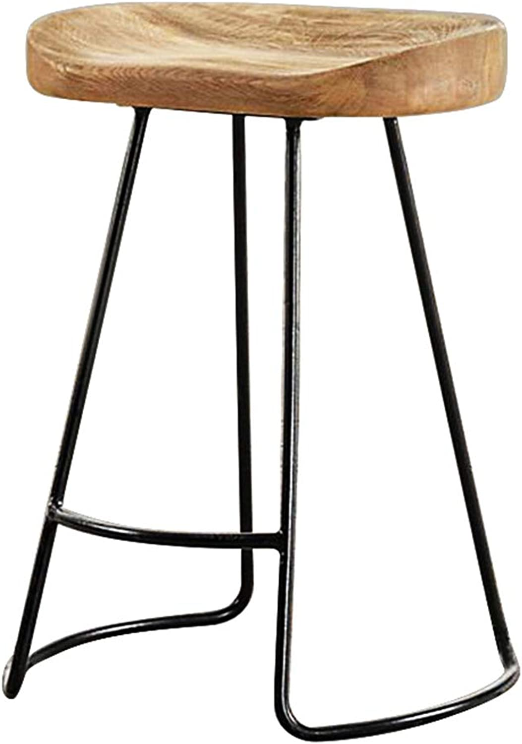 LJFYXZ Bar Stool Simple Solid Wood mat Iron Frame Strong Carrying Capacity Cozy 2 Height Options Black (Size   45CM)