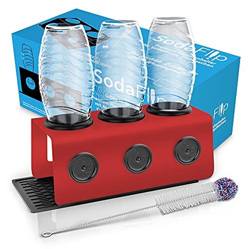 Sodaflip Escurridor con bandeja de goteo, soporte para botellas, accesorio para Sodastream Crystal y otras botellas de cristal