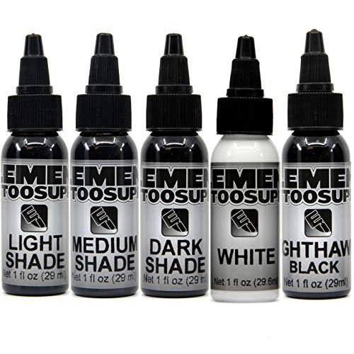 Element Tattoo Supply Shading 3 Stage Grey Wash Black White Tattoo Ink Light Medium Dark Shades (5) 1oz Bottles
