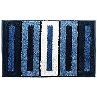 フロントバックドアマット コントラストストライプバスマット滑り止めマイクロファイバーシャグ風呂敷石吸収性フロアフットバスマット洗濯機用バスルーム、ベッドルーム、フロア4色フットパッド 滑り止めドアマット (Color : Square/black, Size : 50*80cm)