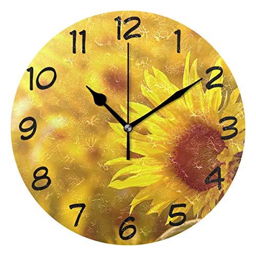 DragonSwordlinsu COOSUN girasol en el campo reloj de pared silencioso, acrílico decorativo, 25,4 cm, reloj redondo para casa, oficina, escuela