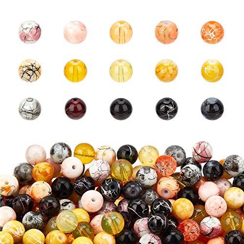 PandaHall Cuentas de cristal de 8 mm de color para hacer joyas de Halloween, 450 unidades de cuentas sueltas de cristal redondas negras y amarillas para pulseras, collares y pendientes