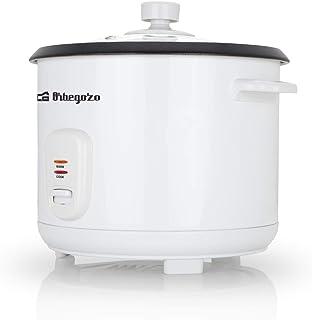 Orbegozo CO 3031 - Arrocera y vaporera, 1,8 litros de capacidad, olla de aluminio antiadherente, protección contra ebullición en seco, tapa de cristal templado, 700 W de potencia