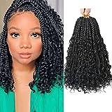 LMZIM 12 Inch Box Braids Crochet Hair Bohomian Crochet Box Braids Curly Ends 7 Pack Crochet Hair Synthetic Braiding Hair Extension Black (12inch (pack of 7), 1B)