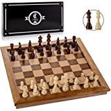 Chess Armory Chess Set 17' x 17' with Raised Border Frame - Inlaid Walnut Wooden Chess Set with Folding Chess Board, Staunton Chess Pieces, & Storage Box - Chess Set Wood Board Game