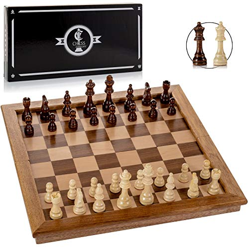 "Chess Armory Chess Set 17"" x 17"" with Raised Border Frame - Inlaid Walnut Wooden Chess Set with Folding Chess Board, Staunton Chess Pieces, & Storage Box - Chess Set Wood Board Game"