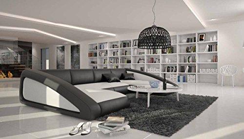 Wohn-Landschaft XXL mit Kunstleder Bezug in weiß/schwarz 355x245 cm   Sanassi   Design Couch-Garnitur XXL Recamiere Links   Polster-Ecke für Wohnzimmer Weiss/schwarz 355cm x 245cm