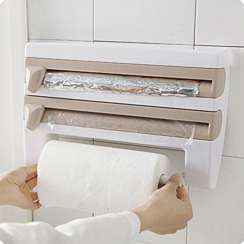 SHSHSH - Soporte para película de cocina, soporte de pared, estante de almacenamiento de película adhesiva, dispensador de rollo de papel de pared, soporte para herramientas de cocina