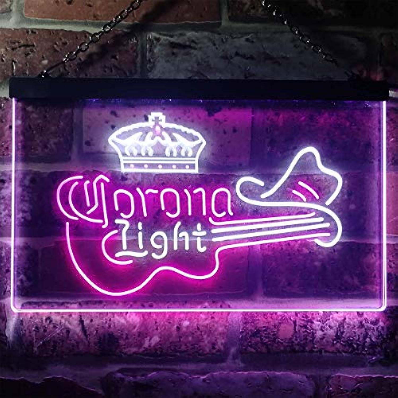 Zusme CGoldna Light Guitar Cowboy Hat Novelty LED Neon Sign Weiß + lila W40cm x H30cm