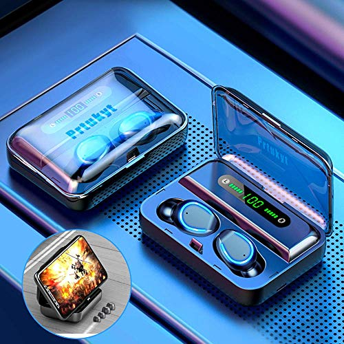 Auriculares Inalámbricos Bluetooth 5.0 con Estuche de Carga Inalámbrico, TWS Auriculares Estéreo en la Oreja Auriculares con Micrófono Incorporado Sonido Premium con Auriculares de Graves Profundos para el Dep