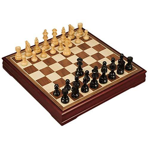 Juego de ajedrez clásico Juego de ajedrez de madera Tablero de ajedrez de boj de ébano Ajedrez sólido Juego de ajedrez en ángulo recto 1.8 Tablero de ajedrez + piezas de ajedrez Niños aprendiendo S