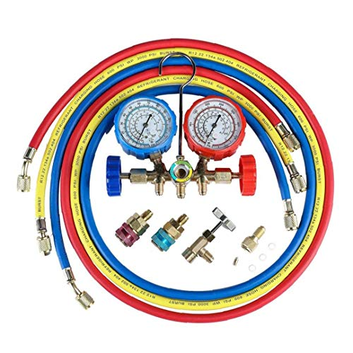 Berrywho Medidor refrigerante de Aire Acondicionado AC Diagnóstico Diagnóstico de Manómetros probador del calibrador Conjunto del múltiple de diagnóstico flúor Múltiple de la Tabla
