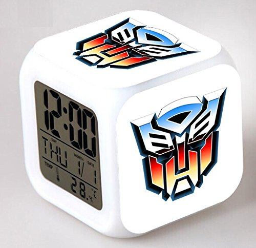 Enjoy Life : Cute Digital Multifunctional Alarm Clock with Glowing Led Lights and Transformers Sticker, Good Gift for Your Kids, Comes with Bonuses (03)
