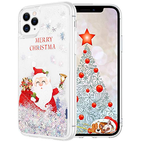 Maxdara Christmas Case for iPhone 11 Pro Glitter Case Merry Christmas Santa Claus Pattern Glitter Liquid Bling Sparkle Case for Girls Women Christmas Case for iPhone 11 Pro 5.8 inch,(Santa Claus)