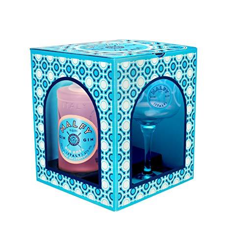 Malfy Gin Rosa Geschenkverpackung - Premium Gin aus Italien - Malfy Gin Rosa mit Original Malfy Copa Glas - 41%Vol - 0,7L