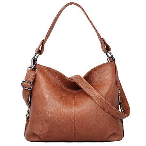 YALUXE Handtasche Damen stilvoll aus Echtleder Crossbody Tasche Tote Braun