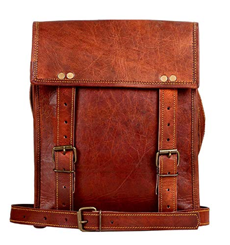 Leather Satchel iPad Tablet Bag - Leather Saddle Bag Purse - Small iPad Shoulder Bag for Men and Women (11 inches, Brown)