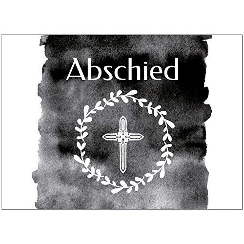 15 x Trauerkarten mit 15 Umschlägen im Set - schwarz weisse moderne Einladung Beerdigung, Anzeige, Trauer, Sterbefall, Friedhof, Begräbnis