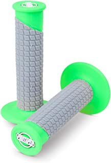 ProTaper Neon Green/Grey Clamp-On Pillow Top Grips Pair for Most 2-Stroke and 4-Stroke Motocross Models 021674