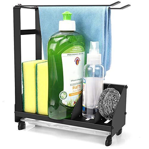 La caja de almacenamiento para fregadero de cocina tiene una bandeja de drenaje extraíble, que se puede colocar en la mesa o colgar en la pared. (2)