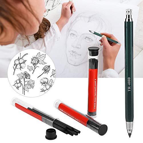 Lápiz automático, Lápiz de pintura automático con núcleo de lápiz de carbón borrable de 4.0 mm Conjunto de lápices de dibujo profesional para dibujar