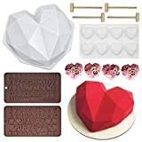 3D Diamond Heart Shaped Mousse Cake Mold Trays set, Not Sticky Silicone Letter Number Chocolate Mold Silicone Candy Mold with 4pcs Wooden Hammers for Valentine Candy Chocolate Making Mother's Day Gift