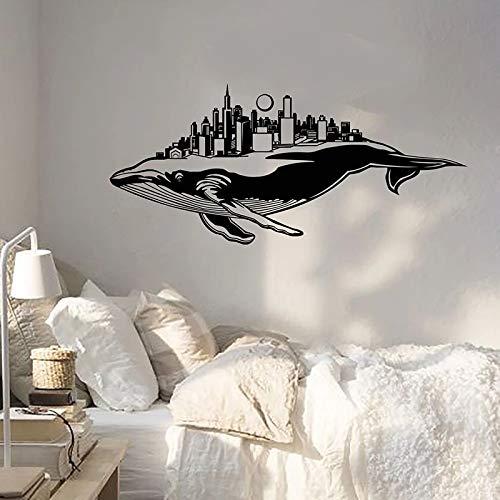 Calcomanía creativa para pared, ballena azul, Animal marino, vista de la ciudad, vinilo, adhesivo para pared, oficina, estudio de arte, dormitorio, decoración Interior