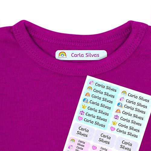 Etiquetas termoadhesivas personalizadas con tu texto | Etiquetas para la ropa, con dibujos y texto personalizado. 40 U. en hoja laminada FUNNY FANTASY