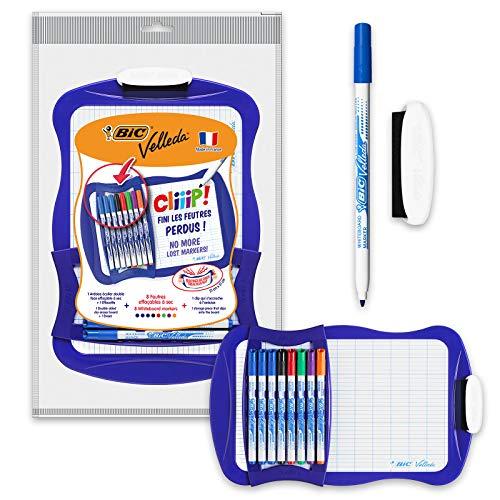 BIC Velleda Cliiip Set - Pizarra blanca (21 x 31 cm, 8 rotuladores lavables)