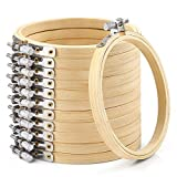 Caydo 12 Pieces 4 Inch Round Embroidery Hoop Bulk Wholesale Bamboo Circle Cross Stitch Hoop Ring
