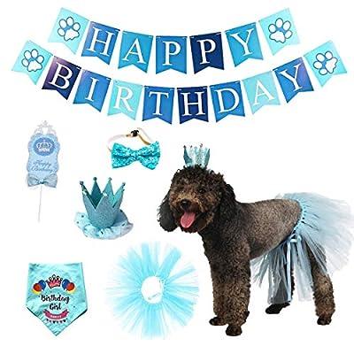 Impoosy Dog Birthday Bandana with Hat Banner Ou...