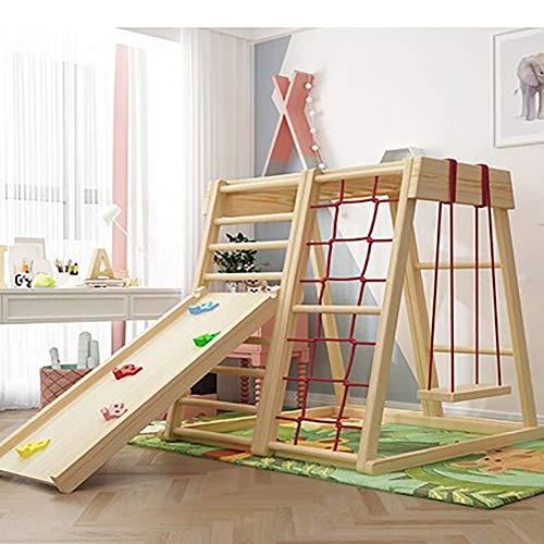 XIAOFEI Kinderrutsche Indoor Household Kombinierter Rutschkletterrahmen, Kleiner Familienschaukel Massivholzspielplatz Schreibtisch, Kinder Massivholzzäune