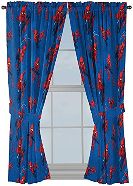 Jay Franco Marvel Spiderman Spidey Crawl Blue 63 Inch Drapes 4 Piece Set Beautiful Room D Cor Easy Set Up Window Curtains Include 2 Panels 2 Tiebacks Official Marvel Product