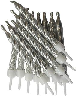 """Creative Party AHC149 Velas de plata metálica con soporte, 3 """"-12 piezas"""