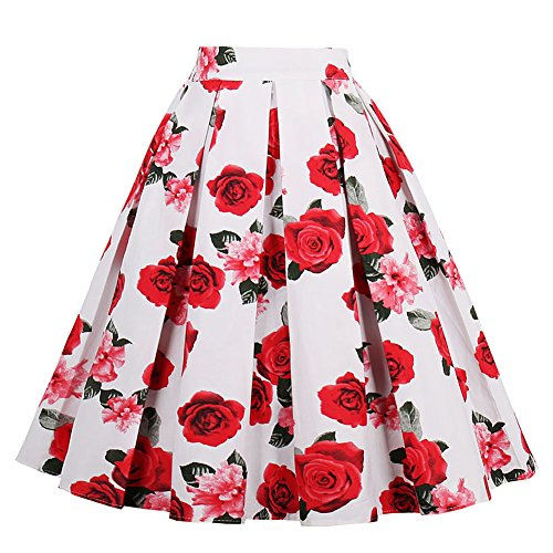 Yotown Falda de Rockabilly para Mujer, Falda de Verano Falda Plisada hasta la Rodilla, Falda de Tela,…