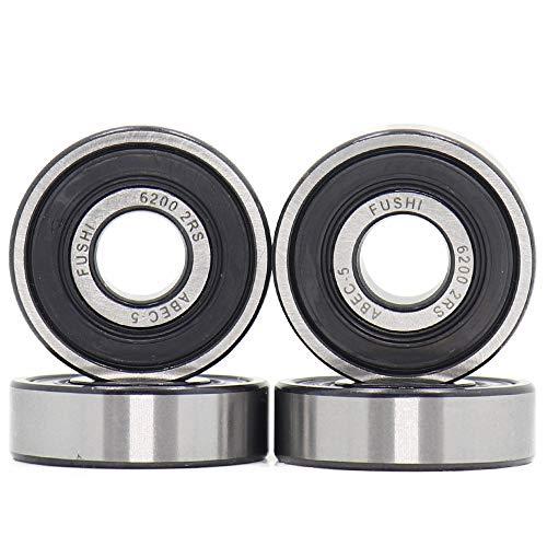 6200-2RS 10 x 30 x 9 mm, rodamientos de doble junta de goma, torno ABEC-5 preengrasados, rodamientos de bolas Deep Groove (pack de 4)